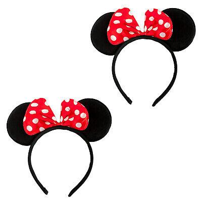 2 Haarreifen mit Maus Ohren + Schleife Rot Weiß Mouse Haarreif Fasching Karneval