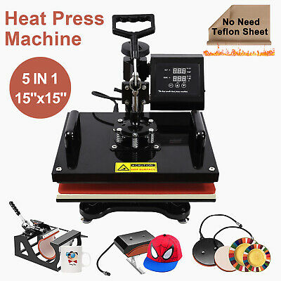 15x15 5 In 1 Heat Press Machine Transfer Sublimation Cap T-shirt Hat Printing