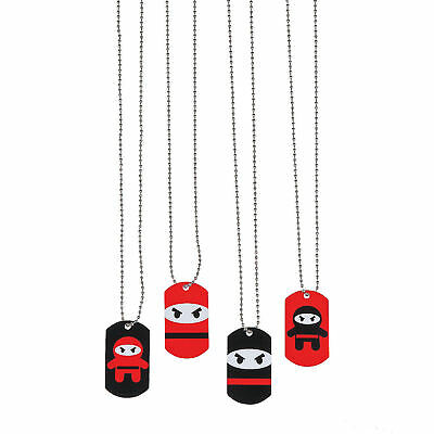 12 NINJA Dog Tag Necklaces Metal Kid's Birthday Party Favors Prizes Rewards
