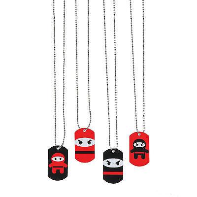 12 NINJA Dog Tag Necklaces Metal Kid's Birthday Party Favors Prizes Rewards