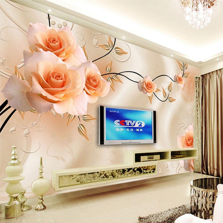 Custom Photo Wallpaper Modern 3d Relief Roses Flower Wall Paper