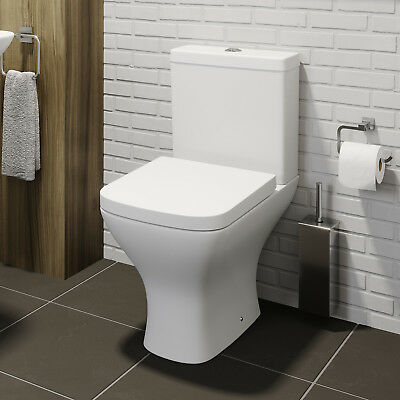 Square Close Coupled Modern Bathroom Toilet White Ceramic Soft Close Seat WC Pan