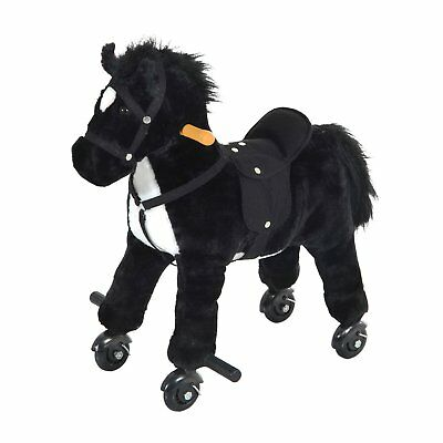Qaba Kids Walking Horse Ride on Pony Rocking Toy Neigh Sound W/ Wheels& Footrest Rocking Horse Sounds