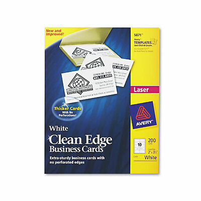 Avery Clean Edge Business Cards Laser 2 X 3 12 White 200pack 5871