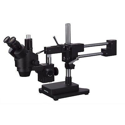 Amscope 7x-90x Trinocular Stereo Zoom Microscope Double Arm Boom Stand