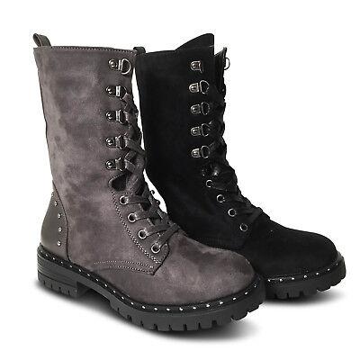 Damen Stiefeletten Boots Nieten Schnürer Outdoor Stiefel Biker NEU ST52 Outdoor Damen Stiefel