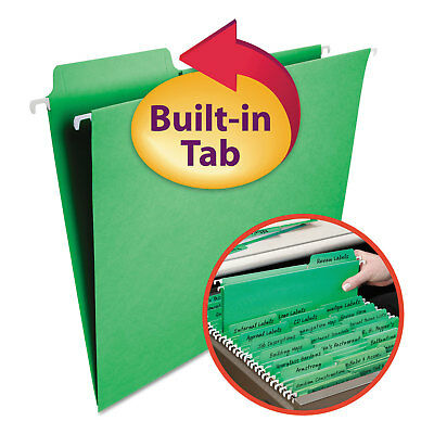 Smead Fastab Hanging File Folders Letter Green 20box 64098