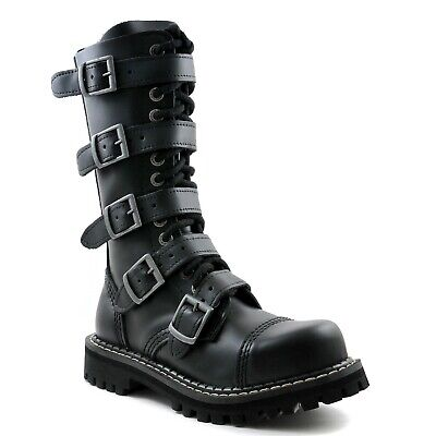Angry Itch Combat Boots Black Leather 14 Eyelets Buckles Military Steel Toe Punk 14 Eyelet Steel Toe Boot