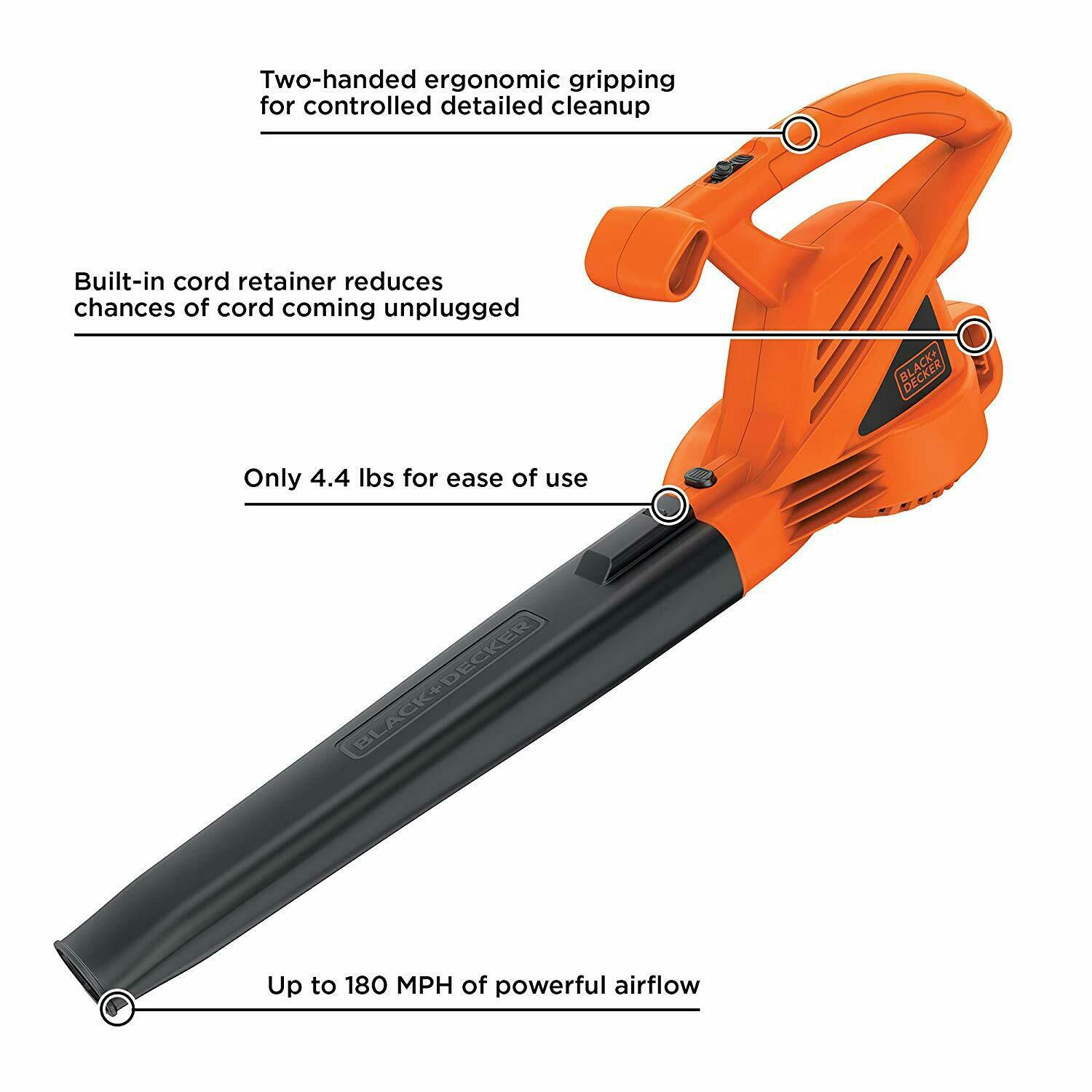 7 Amp Corded Leaf Blower Black Decker 4 Electric 180 Mph All