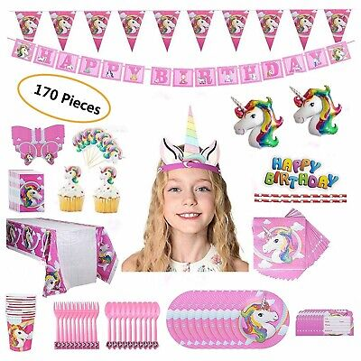Birthday Supplies For Kids (Unicorn Party Set Supplies for 16 Kids- 170 Pieces -Girl's)