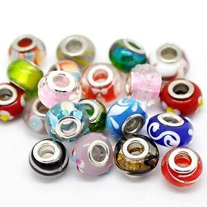 40 Lampwork European Beads Mix silber Glas Zwischenperlen Spacer bunt