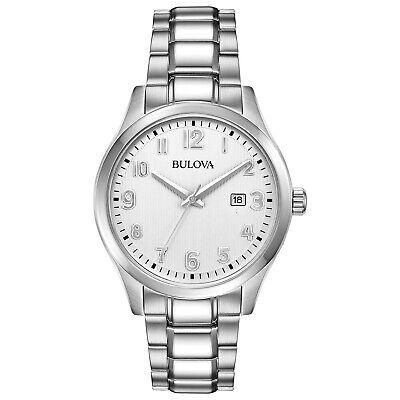 Bulova Men's Quartz Date Silver-Tone Bracelet 42mm Watch 96B300