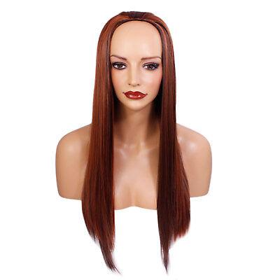 Ladies 3/4 Half Wig Copper Dark Brown Highlights Straight 22