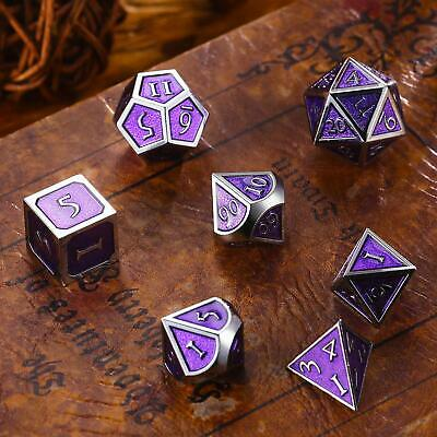 7Pc/Set Metal Polyhedral Dice DND RPG MTG Role Playing and Tabletop Game, Purple