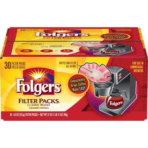 Folgers Filter Packs Coffee, Classic Roast (.9 oz. packs, 30 ct.) FREE SHIPPING