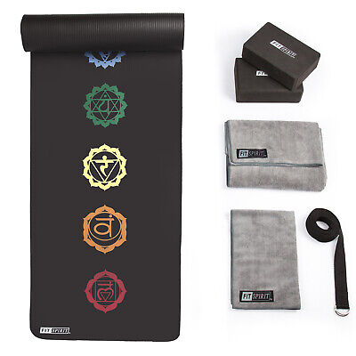 "Fit Spirit Yoga Starter Set Kit – Includes 1/2"" Thick NBR Exercise Mat, Yoga"