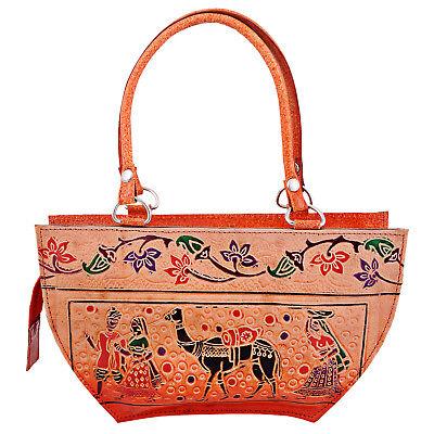 Hand Tooled Painted Pure Leather Shantiniketan Ethnic Boho Purse Handbag