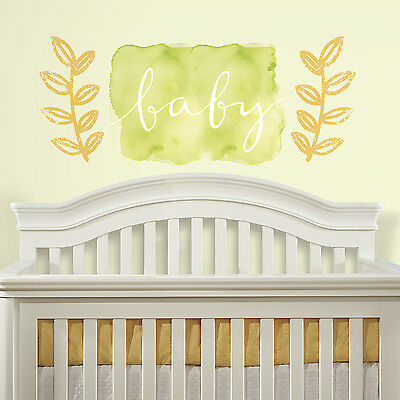 BABY Watercolor Giant Peel and Stick Wall Decals Removable and Reusable Stickers