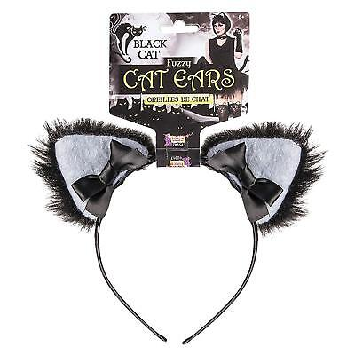 Furry Ears Black Cat Animal Kitty Fancy Dress Halloween Adult Costume Accessory (Furry Black Cat Costume)