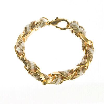 JOOMI LIM Tan & White Stripe Cotton Woven Chainlink Bracelet NEW