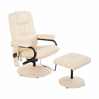 Massagesessel inkl. Hocker Fernsehsessel Relaxsessel mit Wärmefunktion creme
