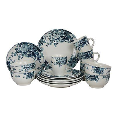 ELAMA TRADITIONAL ROUND STONEWARE BLUE ROSE 16pc DINNERWARE DISH SET SVC for 4
