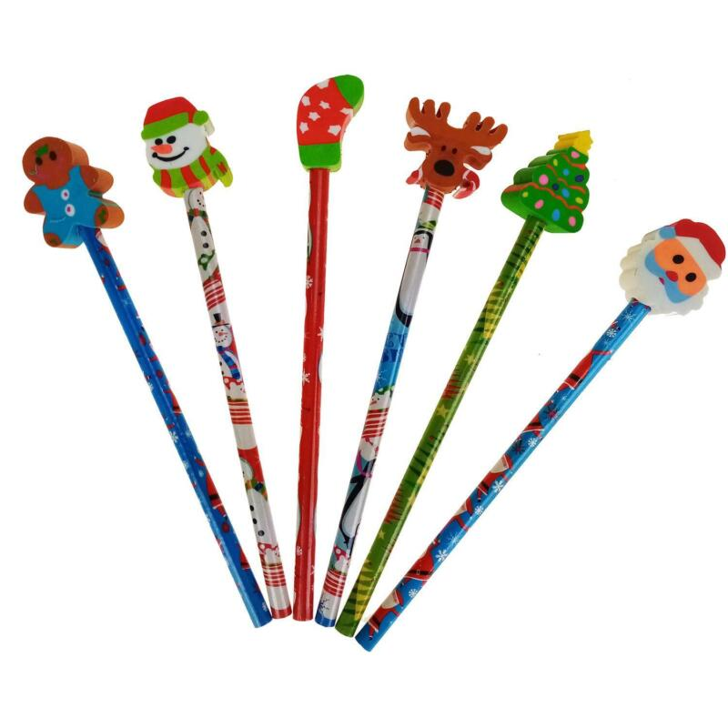 Christmas+School+Pencil+Pens+Eraser+Tops+Xmas+Teacher+Gift+Kids+Party+Bag+Filler