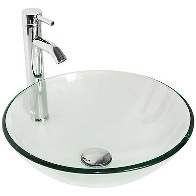 US Bathroom Lavatory Bowl Clear Glass Round Vessel Sink and Faucet&Pop-up Drain ()