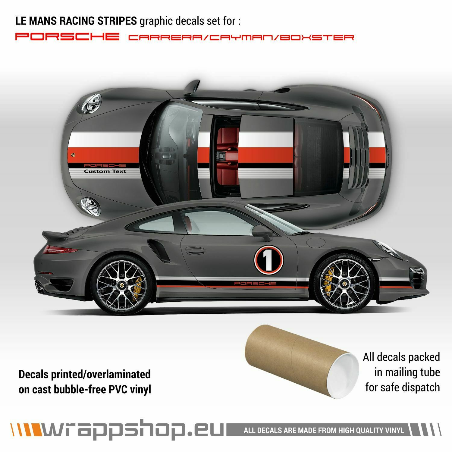 Le Mans Racing Stripes Graphic Decals Set For Porsche Carrera Cayman Boxster Ebay