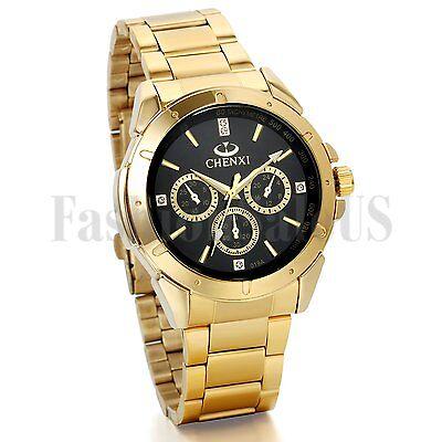 Luxury Mens Gold Tone Stainless Steel Band Date Quartz Analog Sport Wrist Watch