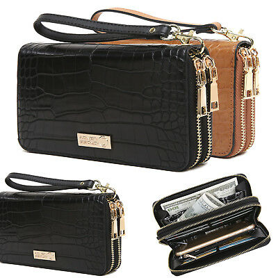 - Aitbags Leather Women Double Zip Around Wallet Clutch Purse with Wristlet Strap