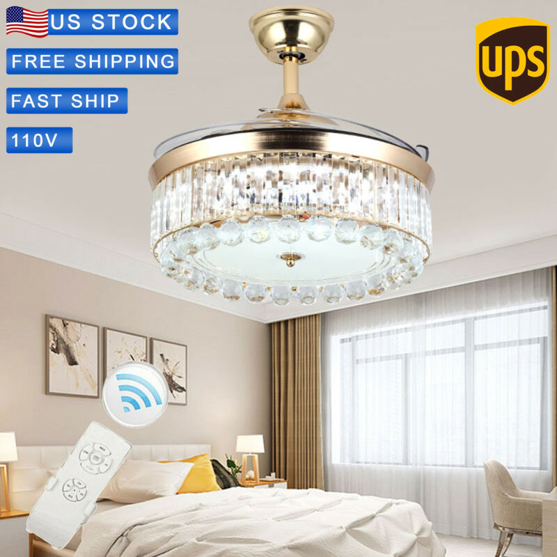 """42""""LED Ceiling Fan Light Invisible Crystal Blade Home Decor"""