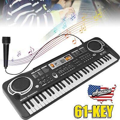 61 Key Digital Piano Electronic Keyboard Electric Piano Music W/ Microphone Kids