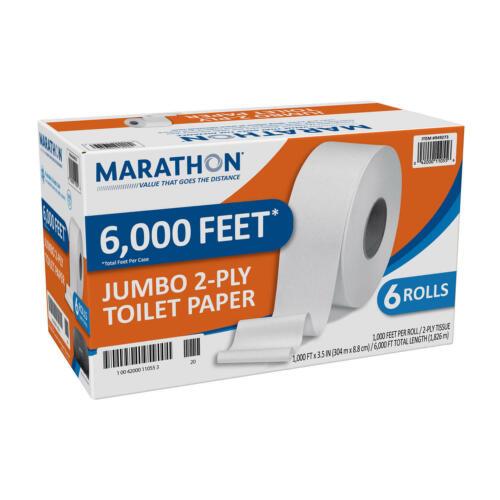 Marathon Jumbo Roll Toilet Paper, White, 6 Rolls/Case