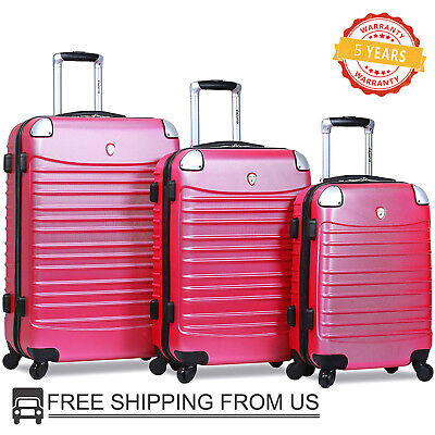 Dejuno 3 Piece Luggage Set Carry On Travel Trolley Lightweight Suitcase Hardside ()