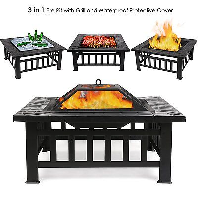 3in1 Outdoor Garden Fire Pit Patio Heater Firepit Brazier Square Stove Steel BBQ