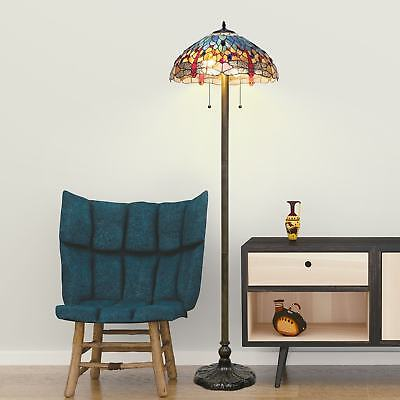 - Tiffany Style Floor Lamp Antique Glass Light Vintage Blue Dragonfly Stained Red