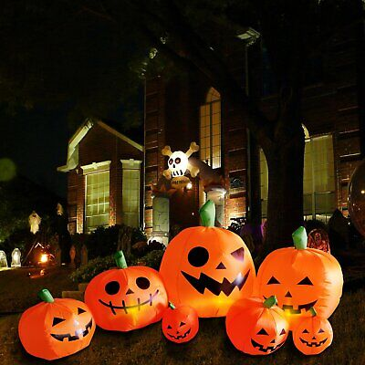 Blow up Outdoor Yard Decoration Halloween Inflatable Pumpkin Ghost & Light 8FT
