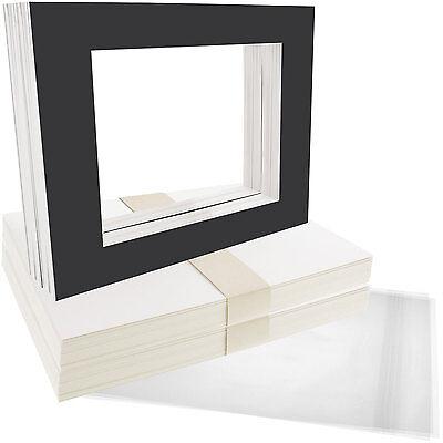 "50 8""x10"" Matte Black Picture Mat Set White Core Bevel 5""x7"" Photo Backers & Bag"