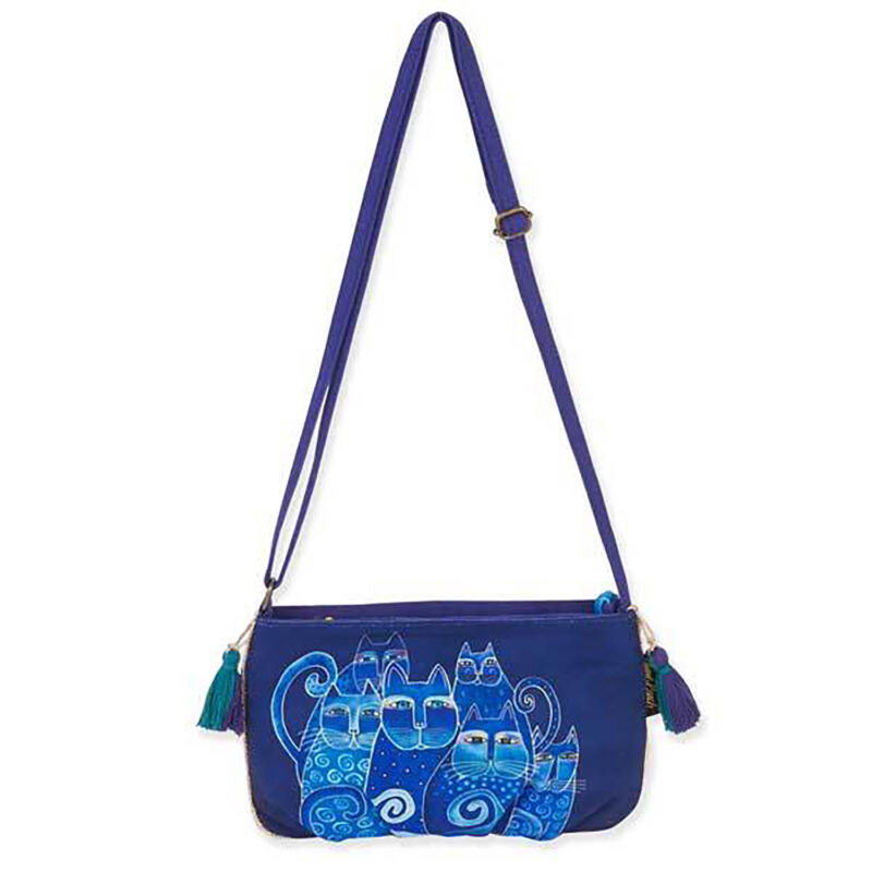 Laurel Burch Indigo Cats Blue Crossbody Purse 9.5 X 6 X .5 Inches Blue