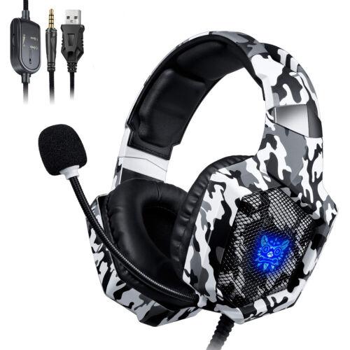 ONIKUMA K8 Gaming Headset Mikrofon LED Stereo 7.1 Ton für PC Laptop PS4 Xbox One