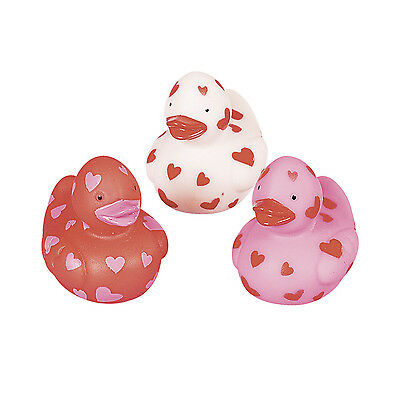 Heart Covered Valentine's Rubber Ducks Ducky Duckies Gift Party Favor Loot Treat