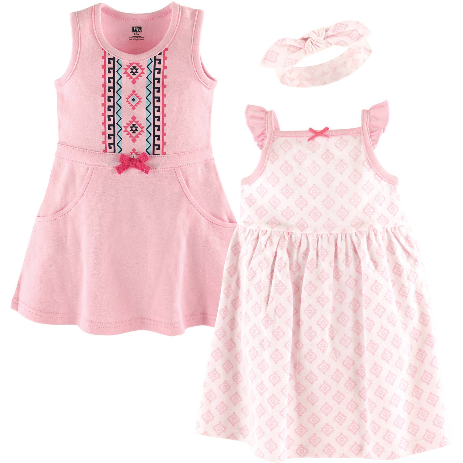 HUDSON BABY GIRLS 3 PIECE SLEEVELESS DRESS AND HEADBAND SET