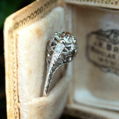 Filigree Vintage Victorian Edwardian Ring 2 CT Round Diamond 14k White Gold Over