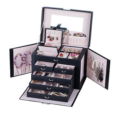 Large Jewelry Box Ring Necklace Display Storage Organizer Travel Case Lock ZG245