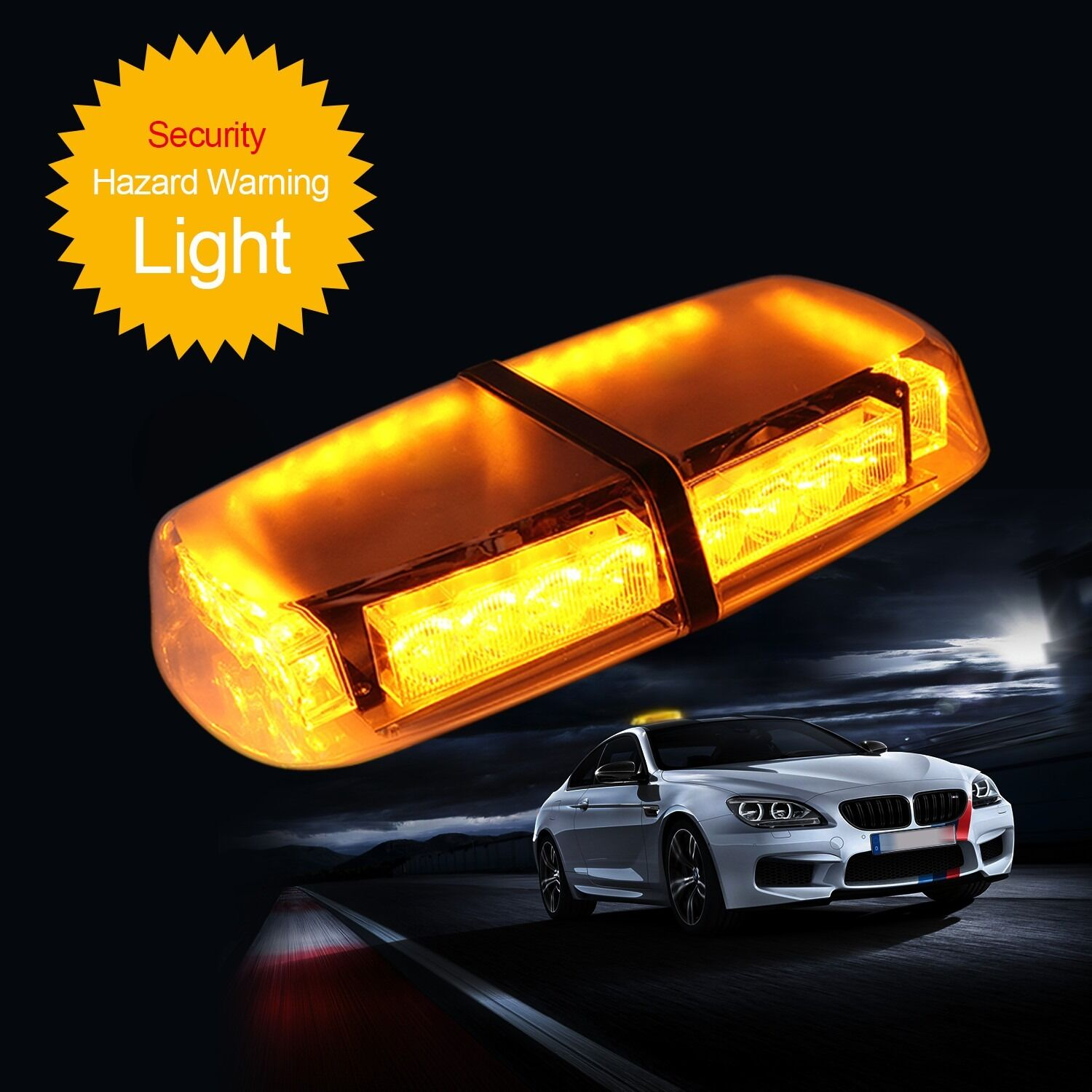 24 led amber car strobe light emergency flashing bar. Black Bedroom Furniture Sets. Home Design Ideas