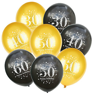 10Pcs/Set Black Balloons Wedding Party Baloons Gold Birthday Party Decoration (Gold Baloons)