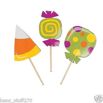 Candy Shaped Cupcake Picks, Halloween Party Food Picks, Candy Buffet Decor ~ 25p