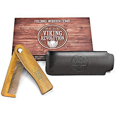 Folding Beard Comb Pocket Hair Moustache Wooden Made Made Men Beauty Hand Gift](Mustache Gifts)