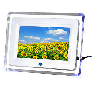 "7"" Digital Photo Picture Video Frame White Includes 2GB SD"